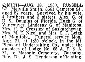 Russell Melville Smith - death notice - Vancouver Province - August 19 1939 - page 25 - column 2