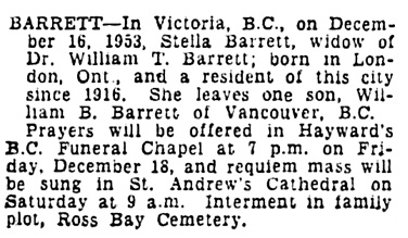 `Victoria Daily Times, December 18, 1953, page 32, column 1.