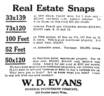 W D Evans - Federal Investment Company - Vancouver Sun - February 4 1913 - page 3 - columns 1-2