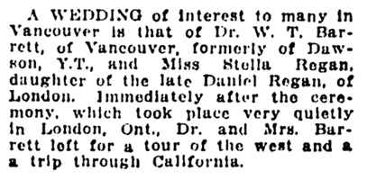 W T Barrett and Stella Regan - wedding - Vancouver Daily World - October 4 1911 - page 24- column 4