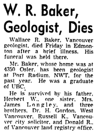 Wallace R Baker - obituary - Vancouver Sun - December 2 1950 - page 10 - column 6