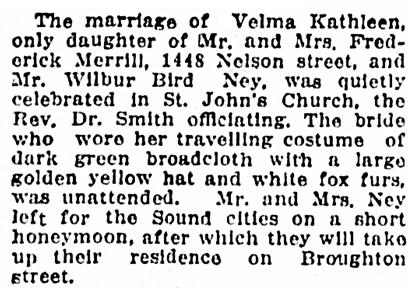 Wilbur Bird Ney and Velma Kathleen Merrill - marriage - Vancouver Province - December 13 1916 - page 12 - column 1