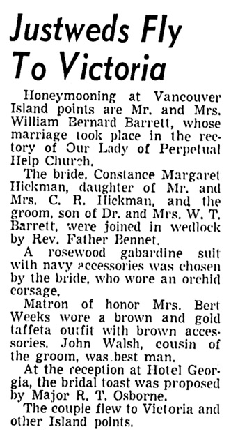 William Bernard Barrett and Constance Margaret Hickman - marriage - Vancouver Sun - November 12 1949 - page 31 - column 3
