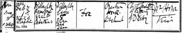 Willoughby Beresford Grant Arbithnot Fox - baptism date - February 1 1866