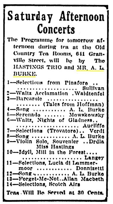 A L Burke - singer - Vancouver Province - November 7 1913 - page 34 - column 7