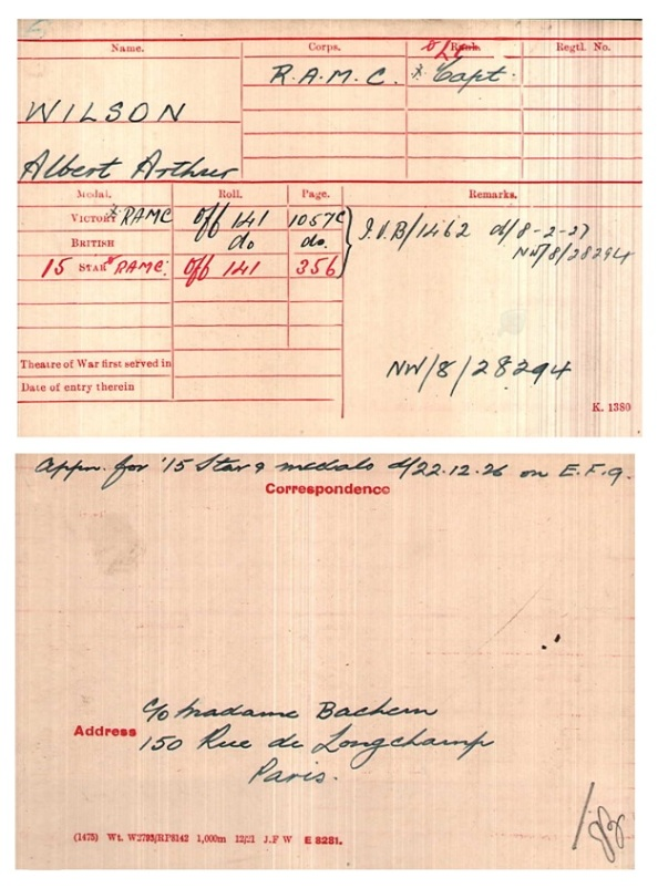 Albert Arthur Wilson - WWI Medal Index Cards - Royal Army Medical Corps
