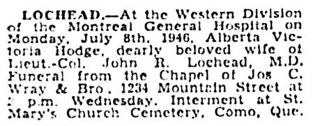 Alberta Victoria Hodge - death notice - Montreal Gazette - July 10 1946 - page 12 - column 1