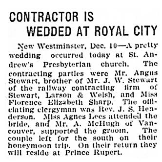 Angus Stewart and Florence Elizabeth Sharp - wedding - Vancouver Province - December 10 1908 - page 1 - column 2