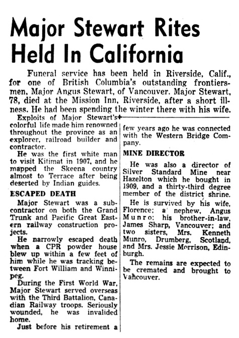Angus Stewart - death in Riverside - California - Vancouver Province - British Columbia - Canada - January 22 1953 - page 5 - columns 1-2