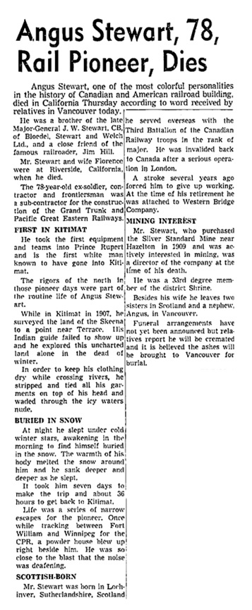 Angus Stewart - death in Riverside - California - Vancouver Sun - January 17 1953 - page 9 - columns 3-4