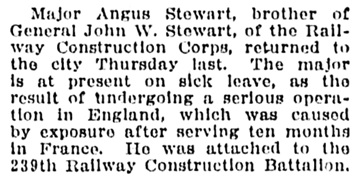 Angus Stewart - return from war to Vancouver - Vancouver Sun - December 29 1917 - page 5 - column 5
