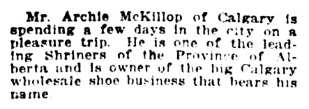 Archie McKillop - Calgary - Shriners - Vancouver Province - February 15 1919 - page 8 - column 7