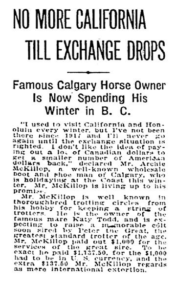 Archie McKillop - exchange rate - Vancouver Sun - February 23 1921 - page 2 - column 4