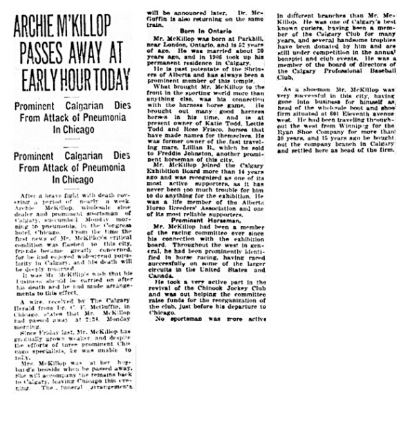 Archie McKillop - obituary - Calgary Herald - April 25 1921 - page 1 - column 7 - page 16 - columns 6-8