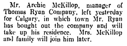 Archie McKillop - to Calgary - Vancouver Daily World - August 20 1909 - page 8 - column 3