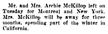 Archie McKillop - to Montreal and New York - Vancouver Daily World - November 20 1907 - page 12 - column 6