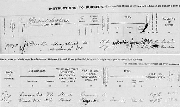 Arthur L Burke - immigration - Quebec City - Quebec - Canada - September 1912