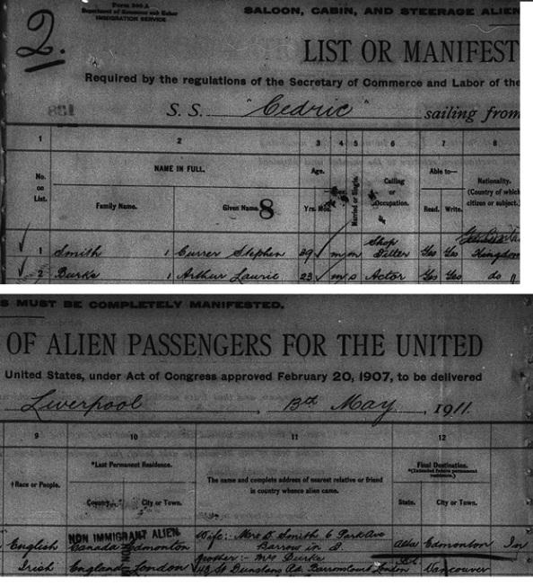 Arthur Lauril - Laurie - Burke - New York Passenger Arrival Lists - Ellis Island - 1911