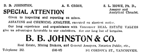 B B Johnston and Company - Vancouver Daily World - September 27 1897 - page 8 - columns 2-3