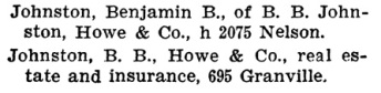 Benjamin B Johnston - Henderson's City of Vancouver Directory - 1906 - page 409
