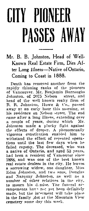 Benjamin Burroughs Johnston - obituary - Vancouver Daily World - November 30 1908 - page 1 - column 3