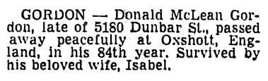Donald McLean Gordon - death notice - Vancouver Sun - July 3 1957 - page 30 - column 4