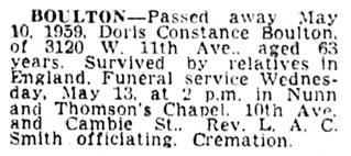 Doris Constance Boulton - death notice - Vancouver Province - May 12 1959 - page 25 - column 2