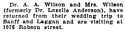 Dr A A Wilson and Mrs Wilson - nee Lazelle Anderson- wedding trip - Banff - Laggan - Vancouver Daily World - October 9 1911 - page 16 - column 4