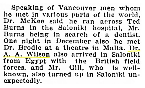 Dr A A Wilson - Saloniki - Vancouver Daily World - July 8 1916 - page 20 - column 2