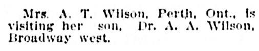 Dr A A Wilson - visit by mother - Vancouver Province - January 27 1913 - page 8 - column 2