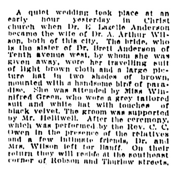 E Lazelle Anderson and A Arthur Wilson - wedding - Vancouver Province - September 28 1911 - page 2 - column 3