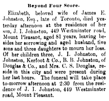 Elizabeth Johnston - obituary - Vancouver Daily World - June 27 1893 - page 4 - column 2