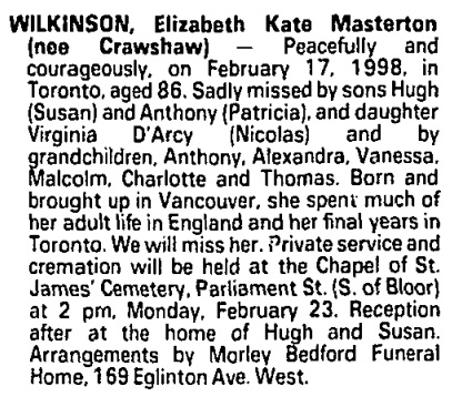 Elizabeth Kate Masterton Wilkinson - nee Crawshaw - death notice - Toronto Globe and Mail - February 20 1998 - page C18 - column 4