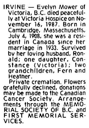 Evelyn Irvine - death notice - Victoria Times Colonist - November 18 1987 - page 41 - column 3