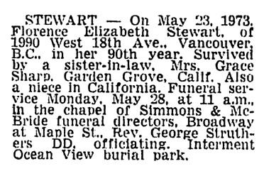 Florence Elizabeth Stewart - death notice - Vancouver Sun - May 25 1973 - page 48 - column 2