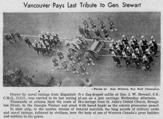 General J W Stewart - funeral procession - Vancouver Sun - September 29 1938 - page 12 - columns 3-5