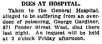 George Jordan - Gardiner - death - Vancouver Daily World - April 26 1923 - page 11 - column 1