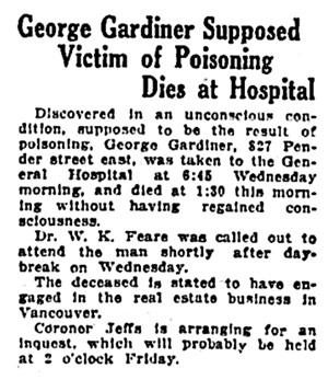 George Jordan - Gardiner - death - Vancouver Province - April 26 1923 - page 24 - column 3