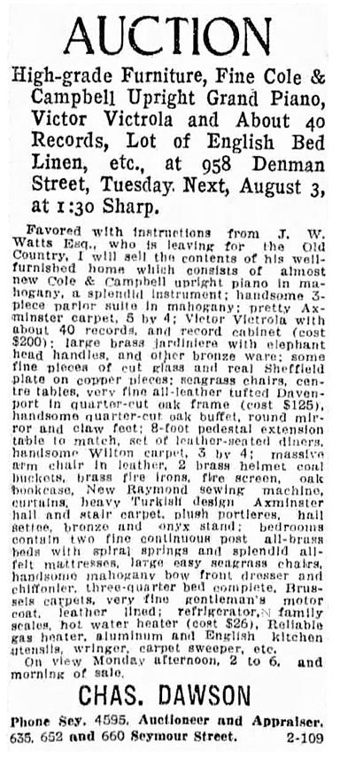 J W Watt - Watts - 958 Denman Street - auction - Vancouver Province - July 31 1915 - page 23 - column 5