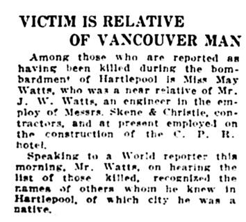J W Watt - Watts - Vancouver Daily World - December 18 1914 - page 1 - column 2