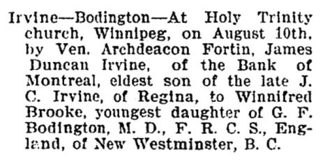 James Duncan Irvine and Winnifred Brooke Bodington - marriage - Calgary Herald - August 15 1898 - page 4 - column 4