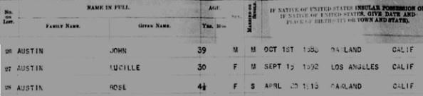 John Austin - Hawaii - Honolulu Passenger Lists 1