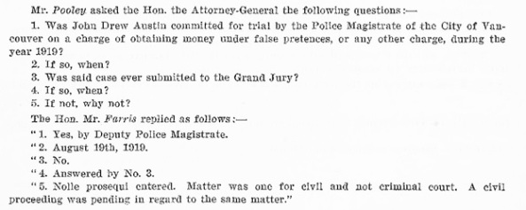 John Drew Austin - Journals of the Legislative Assembly of British Columbia - session 1920 - February 18 1920 - page 45