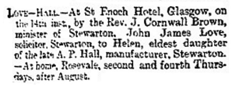 John James Love and Helen Hall - marriage - Glasgow Herald - Glasgow - Scotland - August 15 1895 - page 1 - column 1