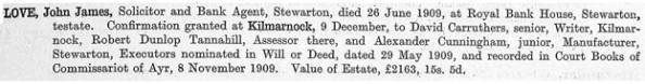 John James Love - death date - June 26 1909