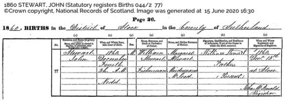 John Stewart - National Records of Scotland - birth register 044-2 77