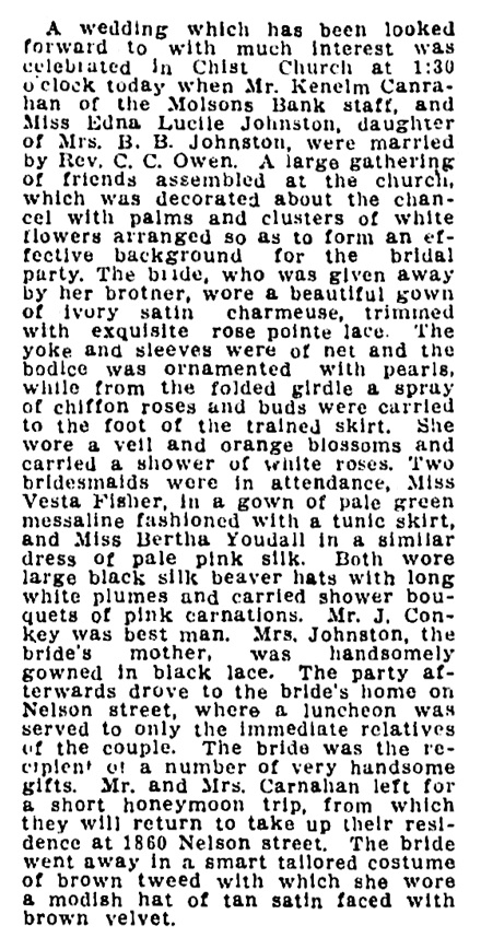 Kenelm Carnahan and Edna Lucile Johnston - wedding - Vancouver Province - October 10 1910 - page 5 - column 3