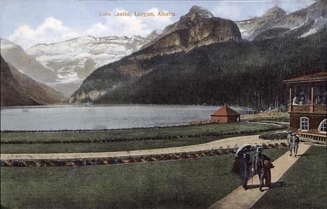 Lake Louise - Laggan - Alberta - postcard - Glacier - S H Baker - publisher - about 1912