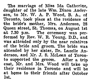 Lazelle Anderson - attendant - sister - Ida Catherine Anderson and W A P Wood - wedding - Toronto Globe - August 3 1904 - page 5