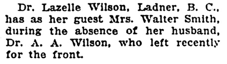 Lazelle Wilson - at Ladner - British Columbia - Vancouver Sun - June 19 1915 - page 3 - column 5